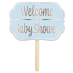 Foil Welcome ToThe Baby Shower Yard Sign Blue