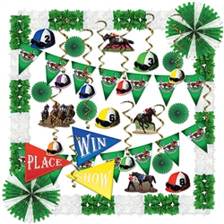 Feel like you're at the track, no matter where yu are with this all-in-one Horse Racing Decorating kit! You'll have everything you need to watch the race in style. You're guests will feel like they've won the Triple Crown!
