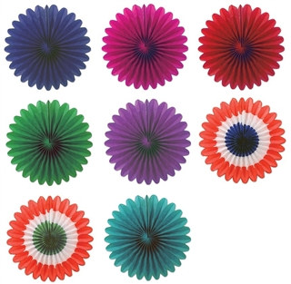 Mini Tissue Fans (Choose Color) - Pack of 6