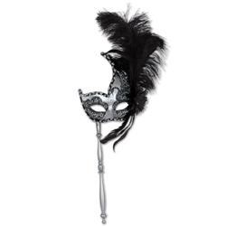 Silver and Black Glitter Feather Mask w/Stick