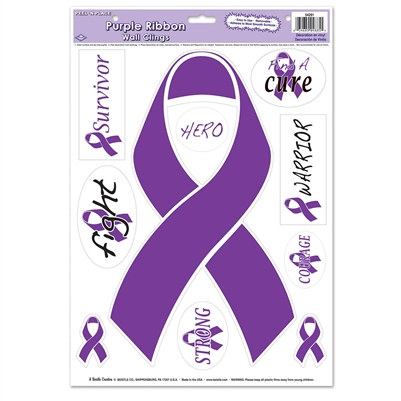 Purple Ribbon Peel 'N Place - 10 stickers/sheet
