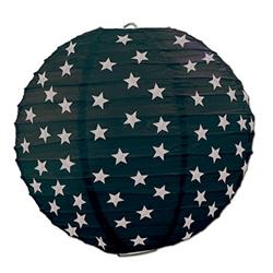 black paper lanterns w/ printed silver stars