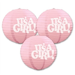 It's A Girl Paper Lanterns (3 Paper Lanterns Per Package)