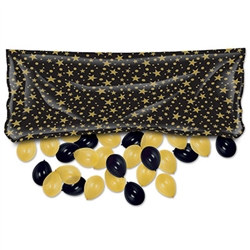Black and Gold Plastic Balloon Bag w/Balloons (includes 50 balloons)