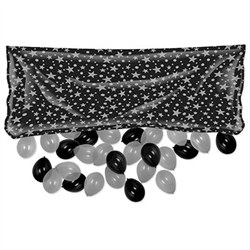 Black and Silver Plastic Balloon Bag w/Balloons (includes 50 balloons)