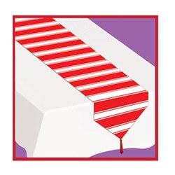 Printed Red & White Stripes Table Runner