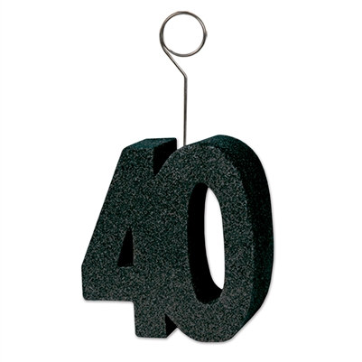 black glittered 40 photo/balloon holder
