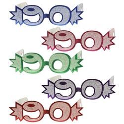 90th glittered eyeglasses