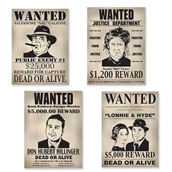 gangster wanted sign cutouts