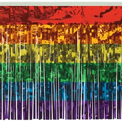 "1-Ply Rainbow Metallic Fringe Drape - Add a rainbow to your party with this Rainbow Metallic Fringe Drape. The shimmering, multicolored fringed drape adds movement and interest on a table edge, framing an entrance, or hung from the ceiling or wall. 10 feet long with 15"" long fringe."
