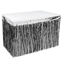 2-Ply Metallic Table Skirting - Black and Silver
