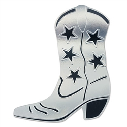 Foil Cowboy Boot Silhouette Silver Partycheap