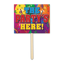 party's here yard sign