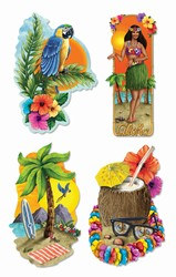 Luau Party Cutouts (4/Pkg)