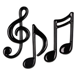 black molded plastic musical notes