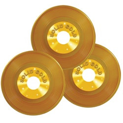 Gold Plastic Records (3/pkg)