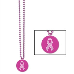 pink beads with printed medallion