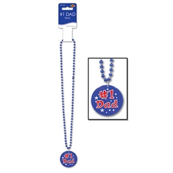 Blue Bead with Number 1 Dad Medallion