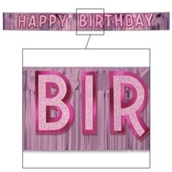 metallic pink happy birthday banner