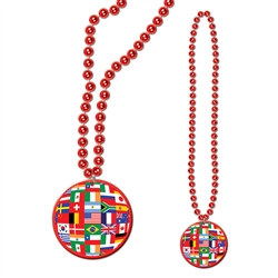 Red Beads with International Flag medallion