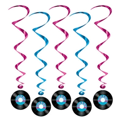 Rock and Roll Record Whirls - Create a fabulous rock and roll atmosphere while coordinating with the rest of your musical themed party.