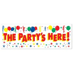 the party's here sign banner