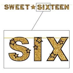 glittered sweet sixteen streamer