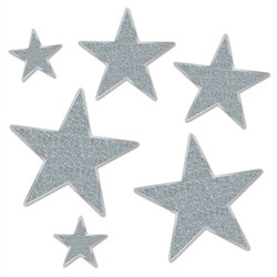 Silver Glittered Foil Star Cutouts