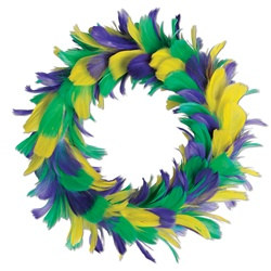 green, golden yellow and purple feather wreath