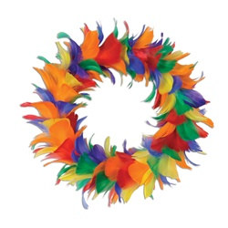 rainbow feather wreath 12 inch