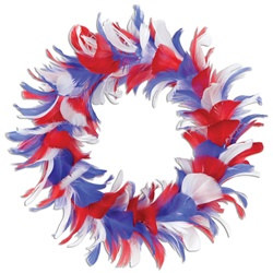 red, white and blue feather wreath