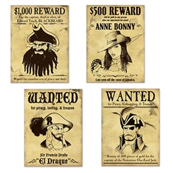pirate wanted sign cutouts
