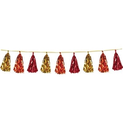 Metallic Tassel Garland - Gold, Orange, Red