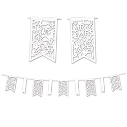 Die Cut Mr & Mrs Pennant Banner