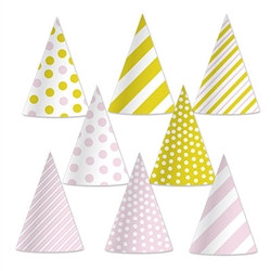 pink & gold cone hats