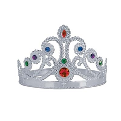 Our Silver Plastic Jeweled Queen's Tiara will have your guests shouting 'Long Livve The Queen'!