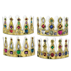 Pkgd Printed Jeweled Crowns
