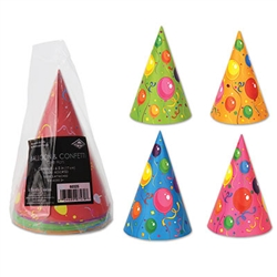 Pkgd Balloon & Confetti Birthday Cone Hats