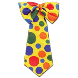 Yellow Clown Tie W/Multi Color Polka Dots
