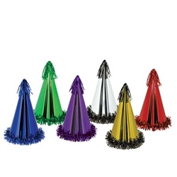 assorted fringed foil party hats