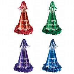 fringed foil happy birthday hats