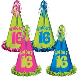 fringed foil sweet 16 party hats