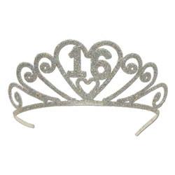 glittered 16 tiara