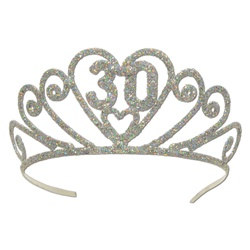 glittered 30 tiara