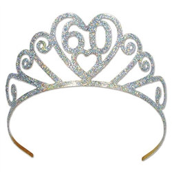 glittered metal 60 tiara