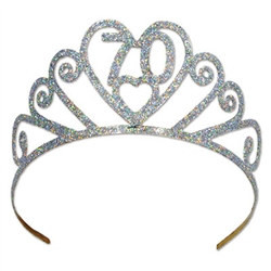 glittered metal 70 tiara