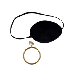Deluxe Pirate Eye Patch w/Plastick Gold Earring