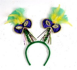 Mardi Gras Mask w/Feathers Boppers
