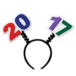 Whether you're celebrating out on the town or watching the ball drop from your living room, top off your outfit with these 2017 Boppers. Felt 2017 cutouts sit on top of a black plastic headband. These 2017 head boppers will fit most adults.