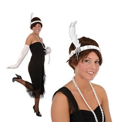 white flapper girl headband